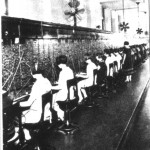 "a crew of ""telephone girls"" telephone operators circa 1910"